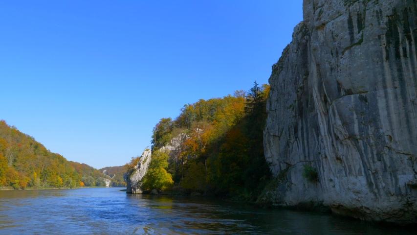 Danube Gorge Nature Reserve, Weltenburger Enge at Weltenburg Monastery near Kelheim, Lower Bavaria, Bavaria, Germany, Europe | Shutterstock HD Video #1053117785