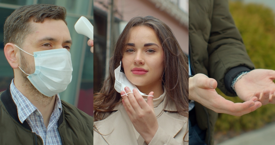 Multi-screen with portraits of people in protective masks, collage on the theme of the coronavirus pandemic. | Shutterstock HD Video #1053122795