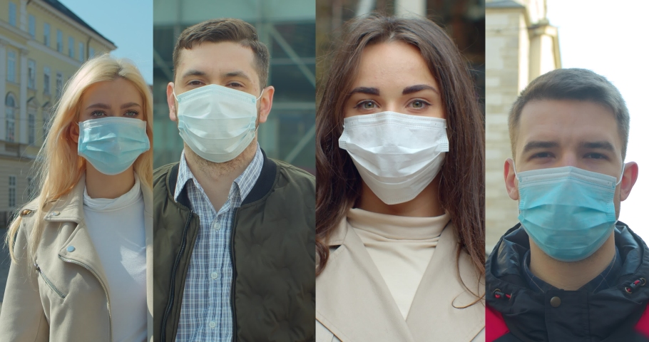 Group of people in masks, collage citizens Virus mask on street wearing face protection in prevention for coronavirus covid 19.