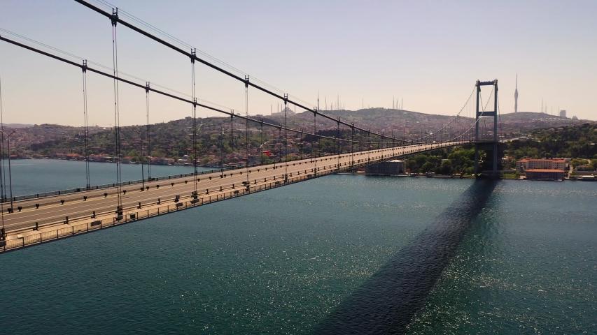 Bosphorus Bridge, 15 July Martyrs Bridge from Sky Aerial view. Istanbul Turkiye. | Shutterstock HD Video #1053124061