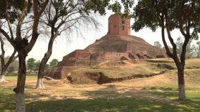 Holy buddhist Chaukhandi Stupa in Sarnath, India, 4k footage video