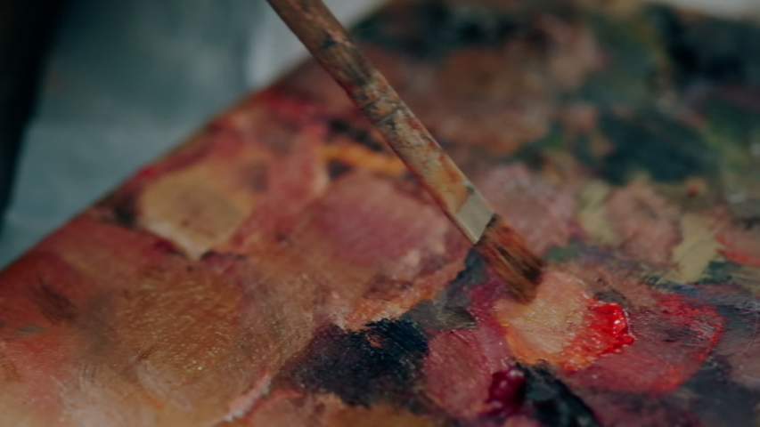 Oil paints on the palette, super close-up, slow motion | Shutterstock HD Video #1053132455