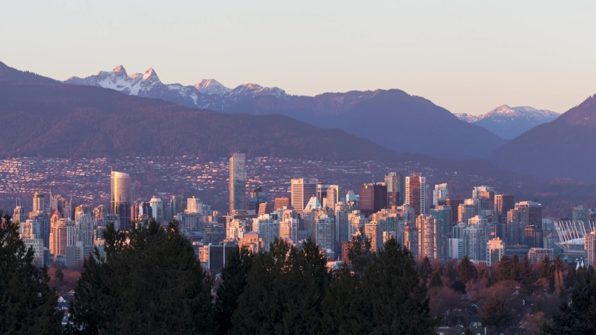 Vancouver Canda Skyline at Dusk with Mountains Timelapse | Shutterstock HD Video #1053132689