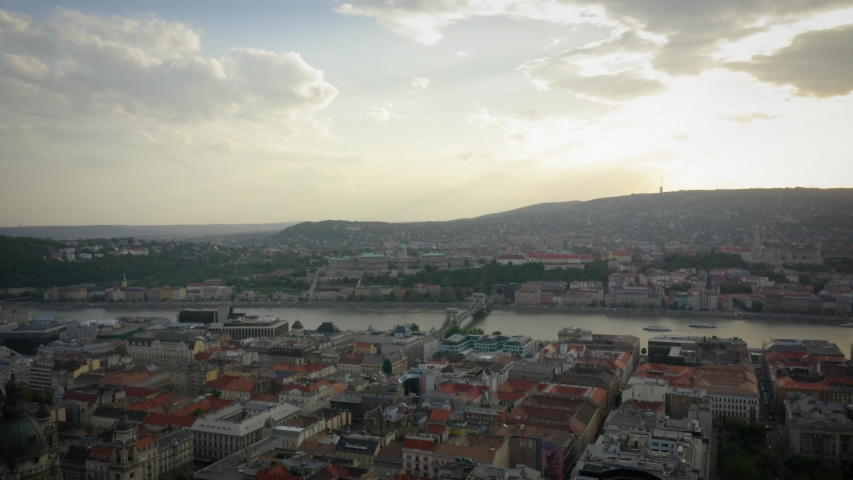 Aerial Pushing In Towards the Danube River in Budapest Hungary | Shutterstock HD Video #1053132968