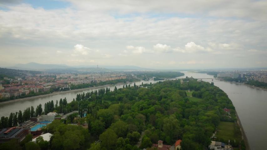 Budapest Hungary Margaret Island Aerial | Shutterstock HD Video #1053133247