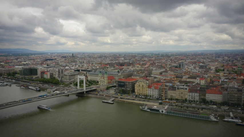 Budapest Hungary Aerial of the Pest Side Pushing In Over the Danube | Shutterstock HD Video #1053133250