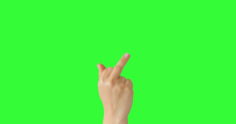 Isolated Woman Hand Showing Fuck You Middle Finger Negative Sign Symbol. Green Screen Compositing. Pack of Gestures Movements on Keyed Chroma Key Background. Body Language.  | Shutterstock HD Video #1053135686