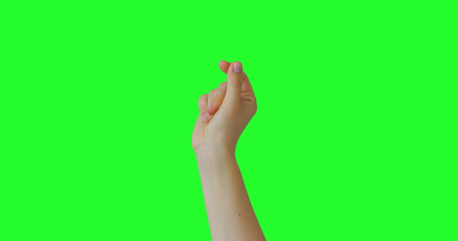 Isolated Woman Hand Snapping Fingers Sign Symbol. Green Screen Compositing. Pack of Gestures Movements on Keyed Chroma Key Background. Body Language.  | Shutterstock HD Video #1053135737