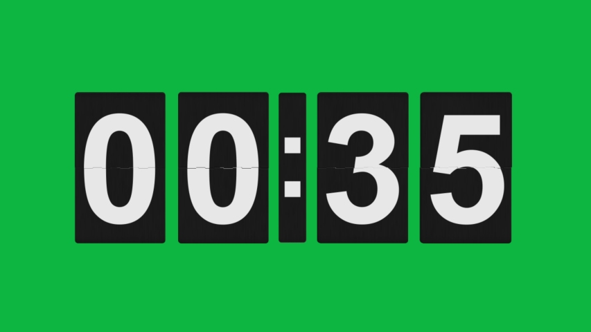 Special Clock Flipping 1 Minute countdown 4K animation on Green screen - 60 seconds count down on Green screen background