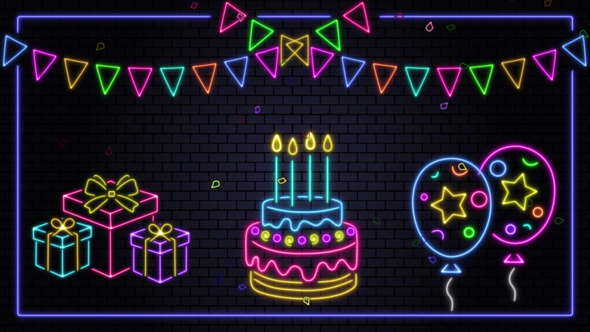 Happy birthday neon background animation,4k, cake,colorful confetti , gift box,flags and balloons  | Shutterstock HD Video #1053142004