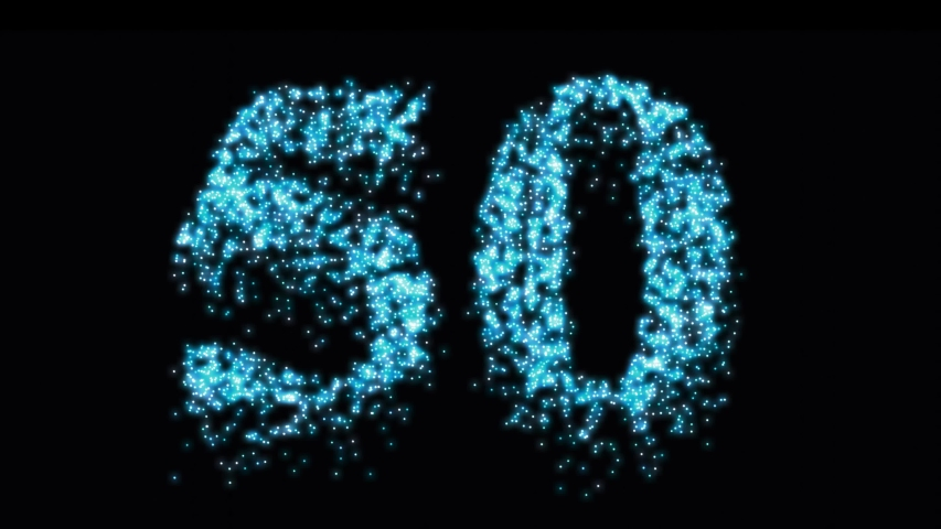 Fiftieth number pyrotechnics blue glow at night. Fireworks 50 birthday or anniversary - video footage Royalty-Free Stock Footage #1053152978