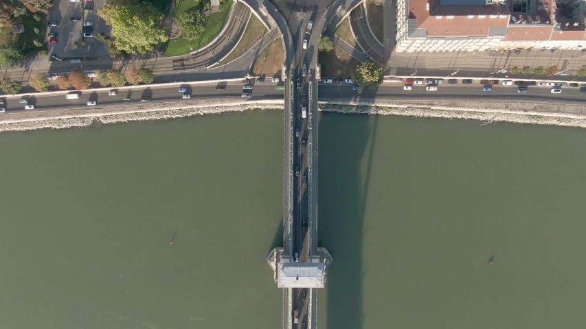 Arial view of River Danube with Chain Bridge | Shutterstock HD Video #1053153527