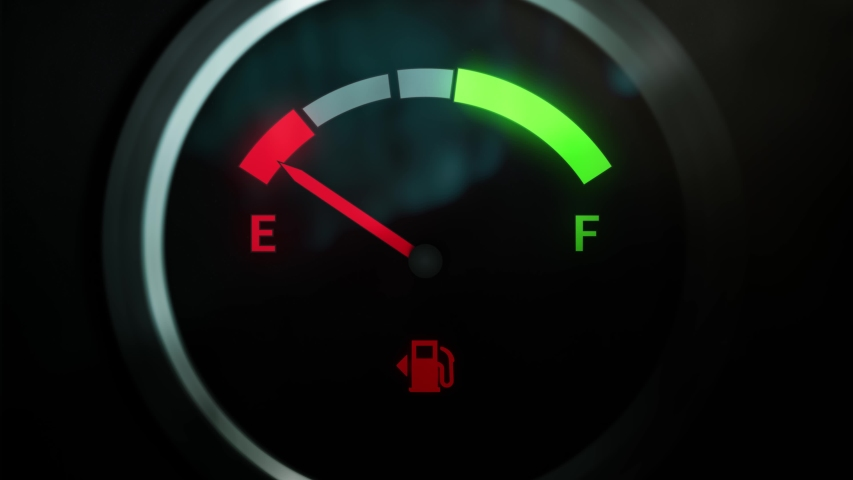 Analog Fuel Gauge Car Dashboard Pin Needle Fuel Full And Empty. Extreme Close Up Round Petrol Meter On Black Background. Red Light Turn Off When Tank is Full. Loop In 4K | Shutterstock HD Video #1053153617
