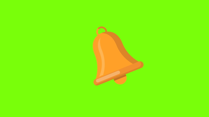 Colored bell ringing symbol animation.isolated on green background.   Shutterstock HD Video #1053154427