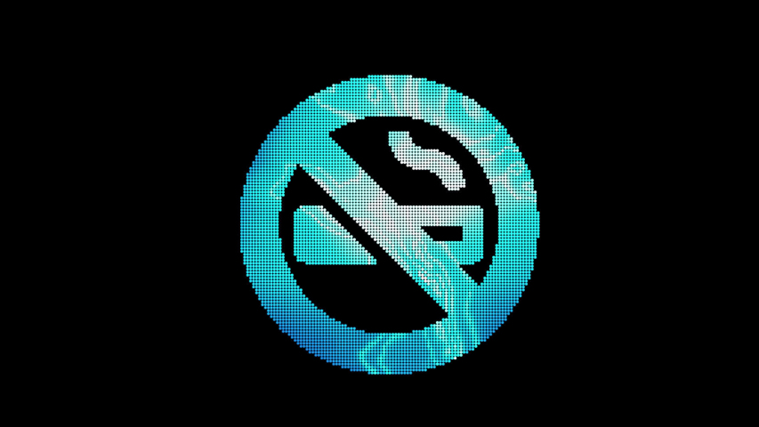 The symbol smoking ban is assembled from small balls. Then it shimmers with blue. It crumbles and disappears. In - Out loop. Alpha channel | Shutterstock HD Video #1053162425