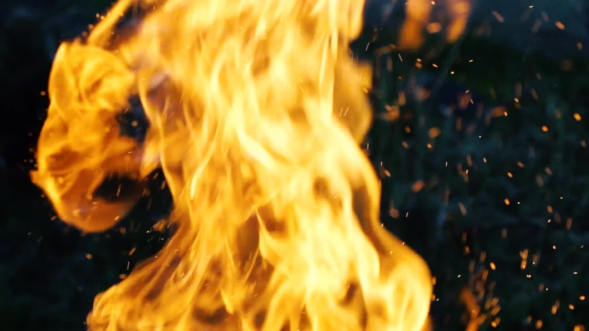 Burning hot firewoods fire sparks on a dark background. Raging Campfire Flames. Particles over black background. Flying Embers from fire slow motion Royalty-Free Stock Footage #1053163292