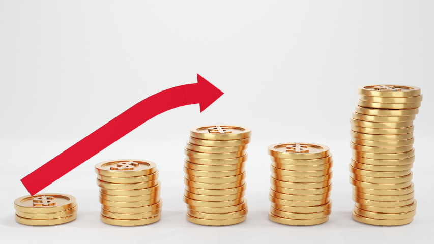 Raising of Golden Coins Stacks on White Background & Growth Coins Chart Infographics Profit Stats Animation with Arrow. Money Saving and Economy Concept. 3D animation. | Shutterstock HD Video #1053165878
