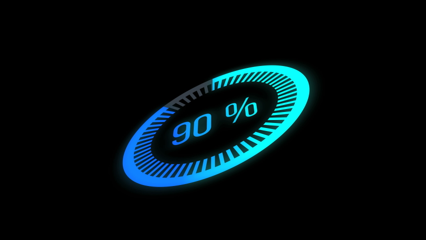 Animation loading bar. 0-100 %. glow circle bar.Loading Animation - 0-100%.blue and green gradient Royalty-Free Stock Footage #1053165965