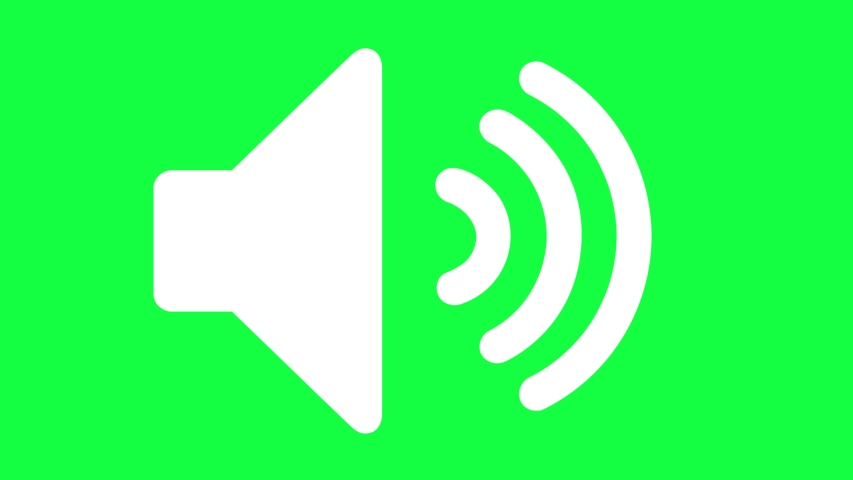 Icon of Sound on a Green Screen (Chroma Key) Background. Isolated Symbol of Audio Technology, Music, and Sound. 4k Vector Animation of Speaker Volume Logo.