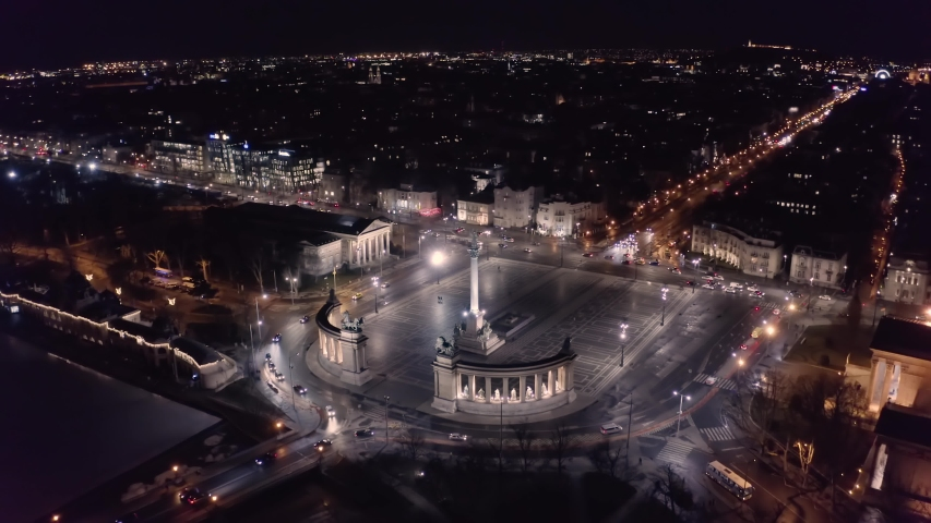 Budapest drone night scene Heroes' Square | Shutterstock HD Video #1053171533