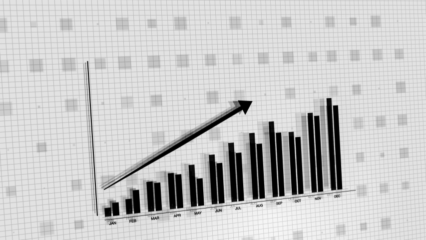 3D animation of 2D vector rising black and white bar graph chart with uparrow, ultra HD 4K Stock Market value