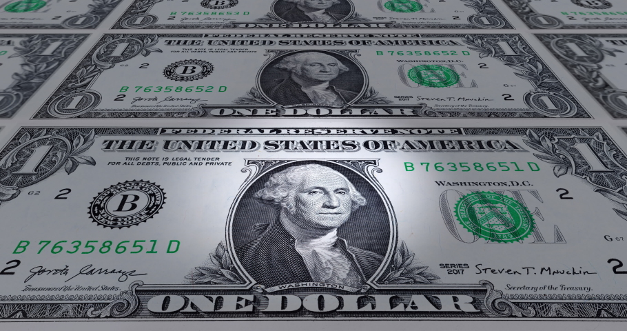 Animated one US dollars sliding by. 4k detailed 3d macro animation of some one dollar banknotes. Macro footage of an animated sheet with the front side of a USA banknote. Legal tender. One USD | Shutterstock HD Video #1053176801