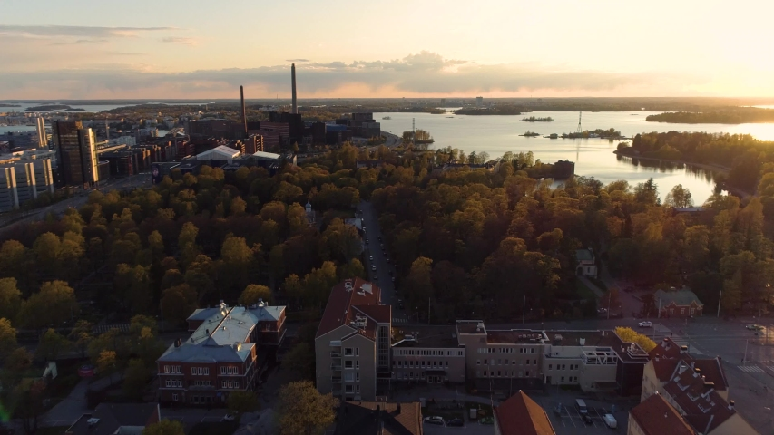 Aerial view of Helsinki during sunrise, Finland .