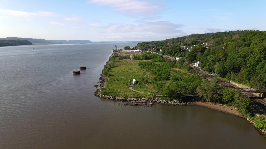Hudson Valley aerial at Hastings-On-Hudson Royalty-Free Stock Footage #1053193349
