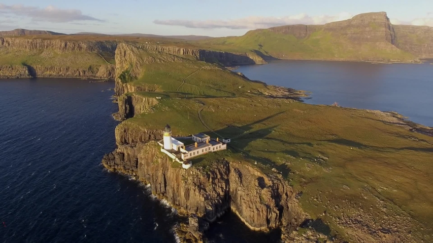 Neist Point Lighthouse Isle of Skye Drone Video Scotland | Shutterstock HD Video #1053194366