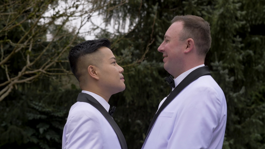 Seattle / United States - 01 03 2020: two grooms kissing each other on their wedding day. | Shutterstock HD Video #1053196031