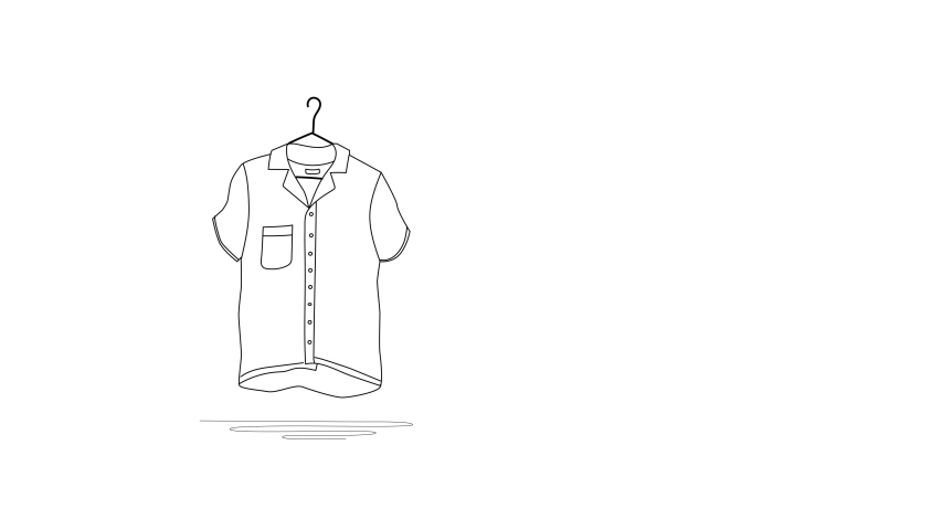 Self drawing animation of short sleeve shirt on hanger. Home, casual and vacation clothing concept. Copy space. White background. | Shutterstock HD Video #1053196748