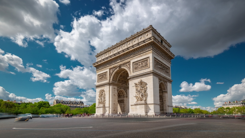 Summer day paris city famous arch traffic circle square timelapse panorama 4k france