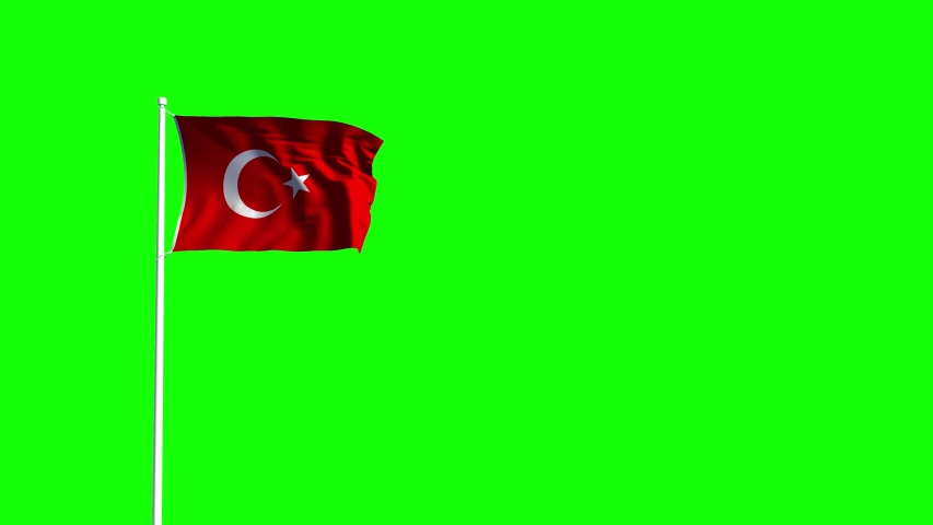 Cgi 3D animation of a Waving Turkish Flag on a flag pole and on a green background. | Shutterstock HD Video #1053204194