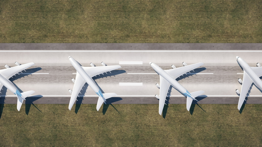 Aerial view of parked airplanes at the airport runway.  Situation due to coronavirus Covid-19 pandemic 4K ProRes seamless loopable 3D animation.
