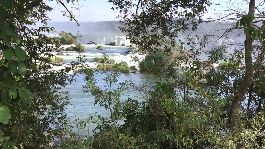 Cataratas of Iguaçu. View from the top of the waterfall. Photo taken in 60 fps, on the bank of the Iguaçu River, right by the fall.