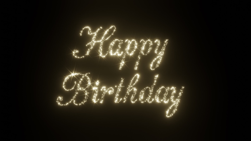 Happy Birthday Text Beautiful Sparkling Fireworks Lettering Happy Birthday Royalty-Free Stock Footage #1053213737