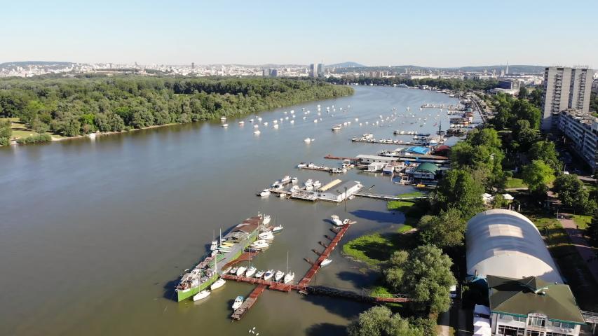Aerial view of Danube river in Zemun, a municipality of Belgrade, Serbia | Shutterstock HD Video #1053215045