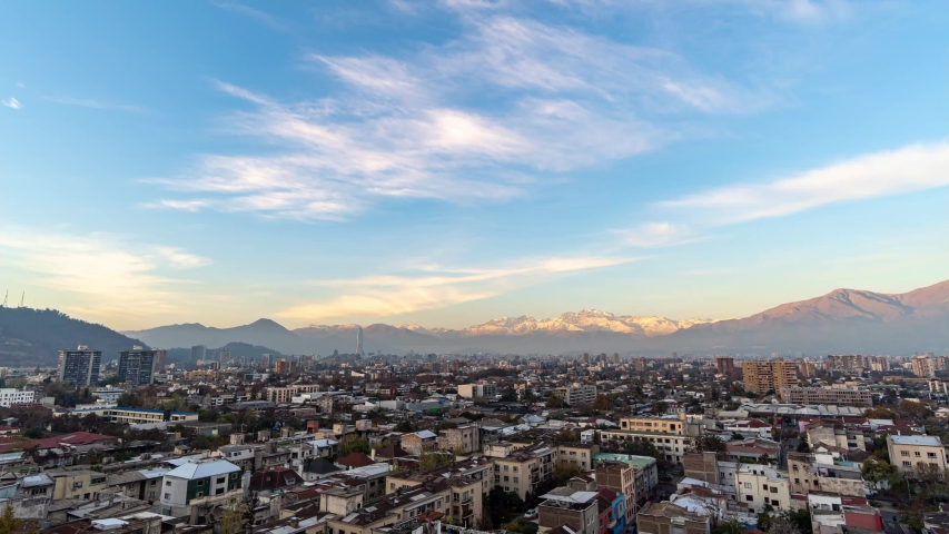 Santiago de Chile time lapse at sunset from Providencia commune with the Andes as background | Shutterstock HD Video #1053218363
