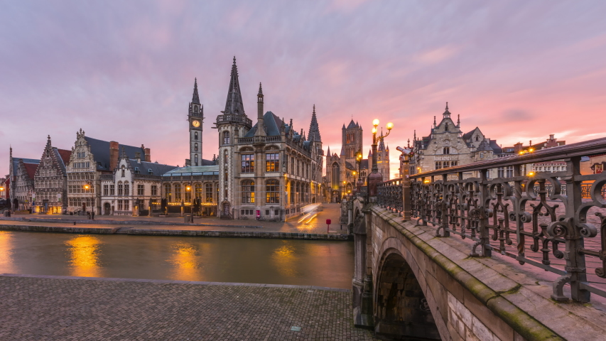 Ghent, Belgium old town cityscape from the Graslei are at dawn. | Shutterstock HD Video #1053218762