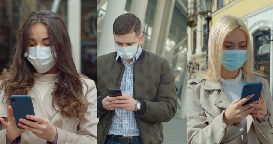 Multiscreen on people using smartphone in everyday life. c Group of people in masks, collage citizens Virus mask on street wearing face protection in prevention for coronavirus covid 19. | Shutterstock HD Video #1053228002