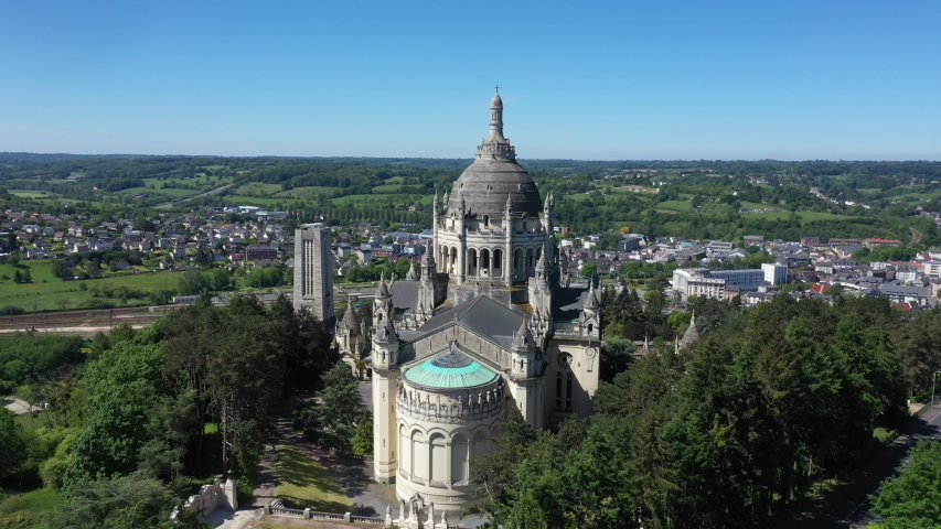 Aerial view of Basilica of St. Therese of Lisieux in Normandy France | Shutterstock HD Video #1053228461