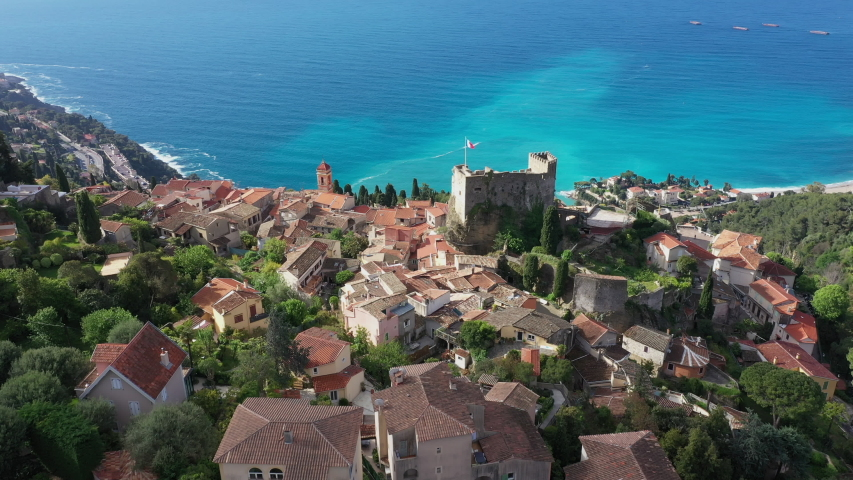 France, Nice, Aerial view of the hilltop village of Roquebrune Cap Martin.