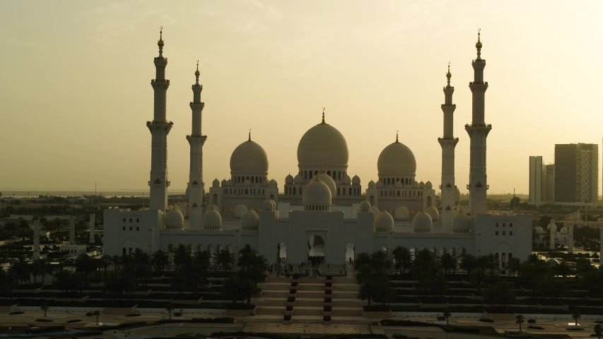 Aerial view of Sheikh Zayed Grand Mosque during sunset, Abu Dhabi, UAE.
