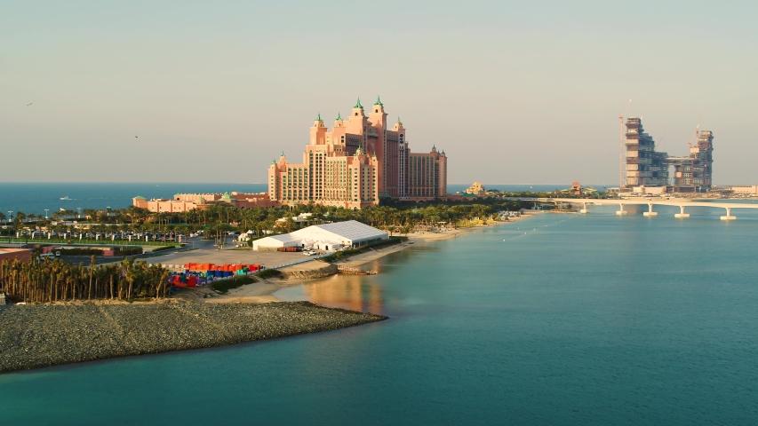 Aerial view of the artificial island The Palm Jumeirah, Dubai, United Arab Emirates
