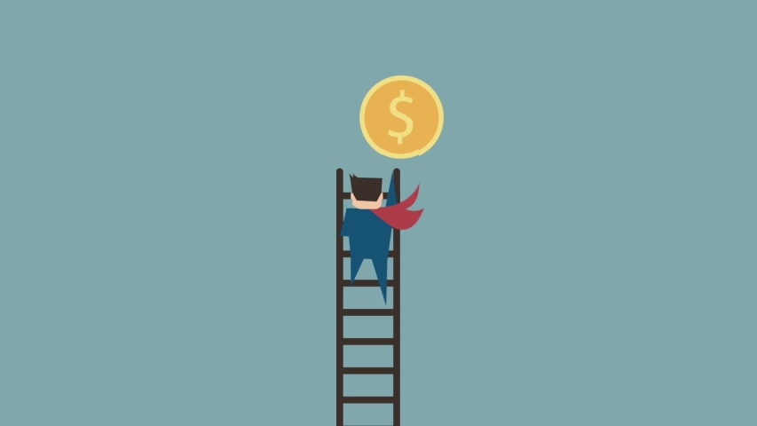 Business man use ladder to climbing and putting a jigsaw to fulfill dollar coin,flat design concept with stop motion video,a business cost investment or interest money saving.