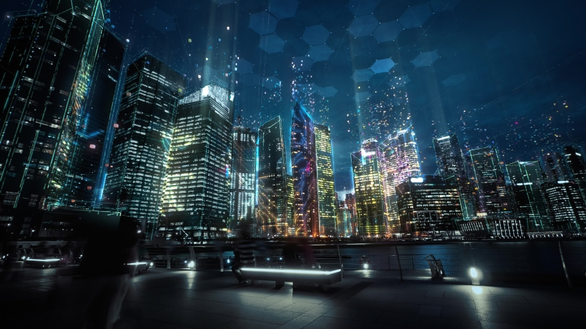 Cityscape with futuristic network connection and data communication. Technology concept. Hyperlapse Royalty-Free Stock Footage #1053232379