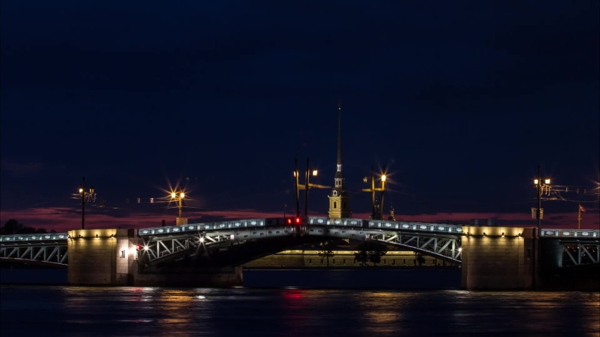 Timelapse, raising of Palace drawbridge in Saint Petersburg, Russia, during white nights, Peter and Paul cathedral, full process from night to morning