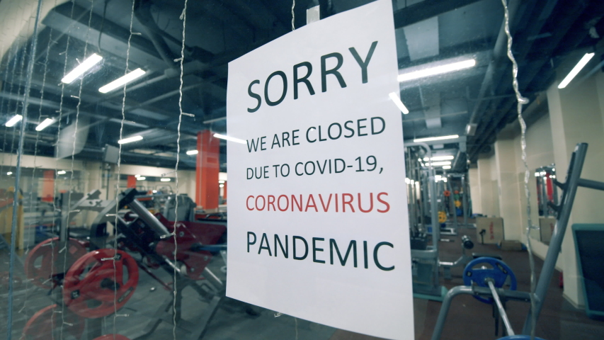 Empty fitness center closed due to covid-19 pandemic Royalty-Free Stock Footage #1053239429