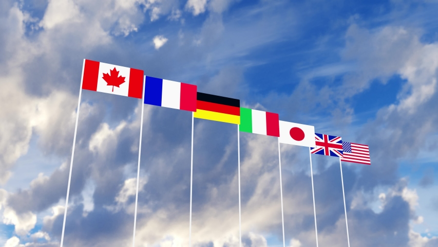 G7 flags Silk waving flags of countries of Group of Seven Canada Germany Italy France Japan USA states United Kingdom with a flagpole on a sunny blue sky background with white clouds 3D rendering | Shutterstock HD Video #1053248363