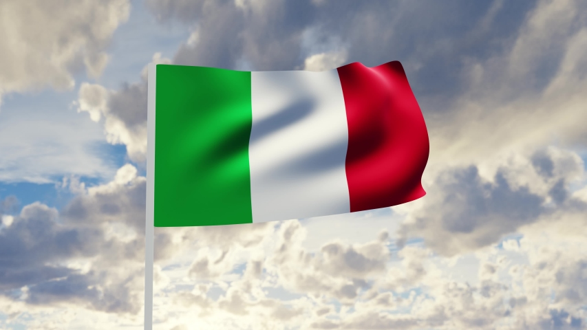 3d rendering animation Realistic flag of Italy waving in the wind against deep blue sky | Shutterstock HD Video #1053248981